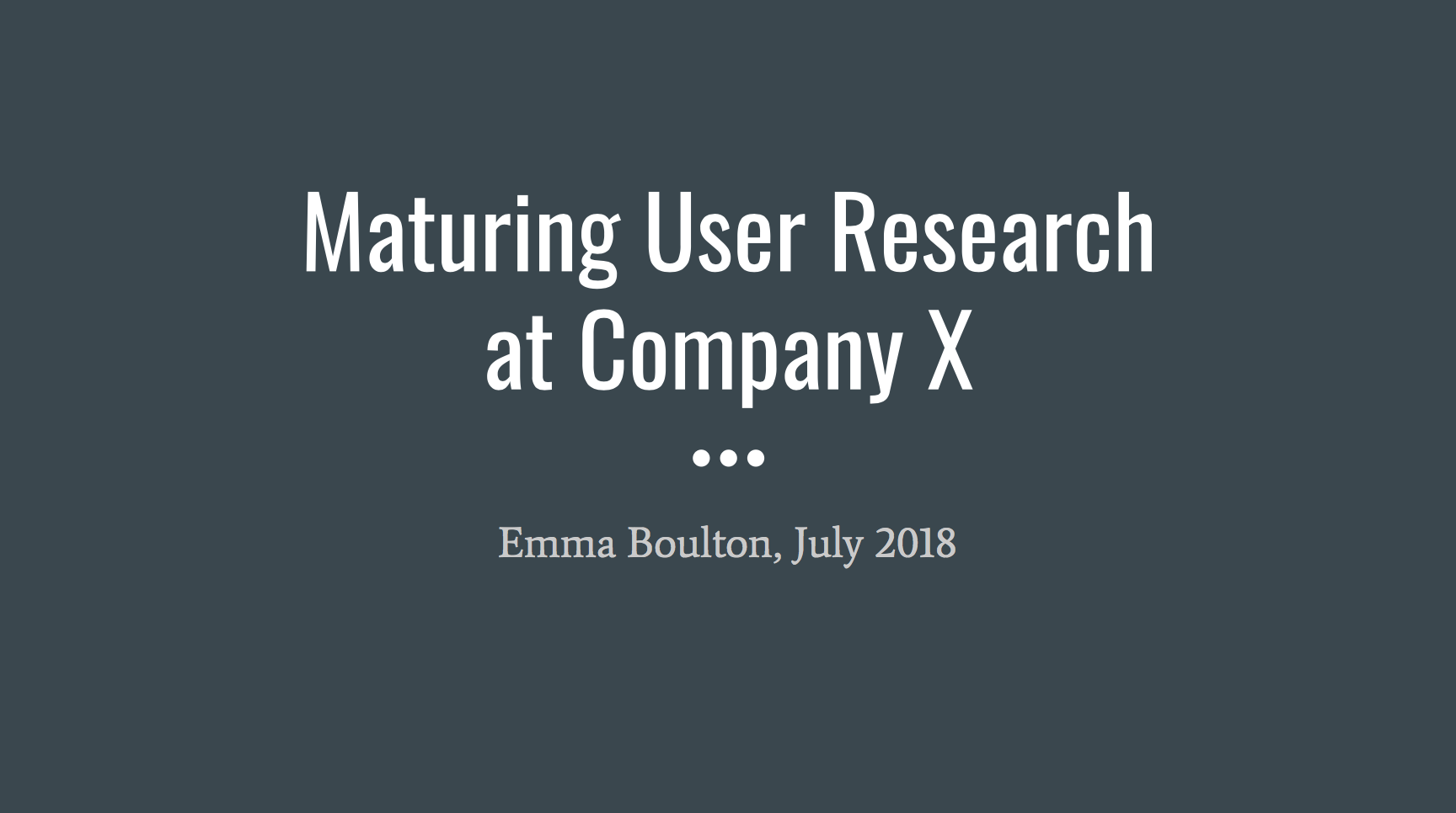 Maturing User Research